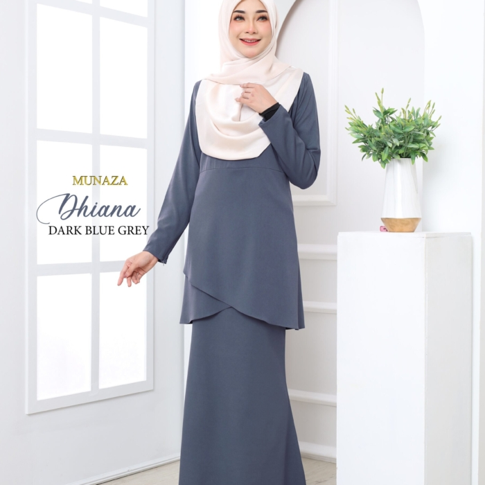 Kurung Dhiana (Dark Blue Grey)